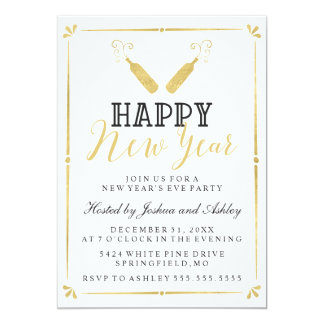 Gold Vintage New Year's Eve Party Card