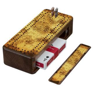 Gold Vintage Old World Map Design Walnut Cribbage Board