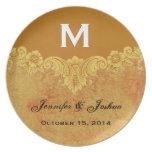 Gold Vintage Ornate Curlicue Frame Monogram Weddin Melamine Plate