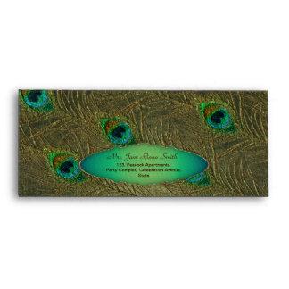 Gold vintage peacock feathers dark  #10 envelopes