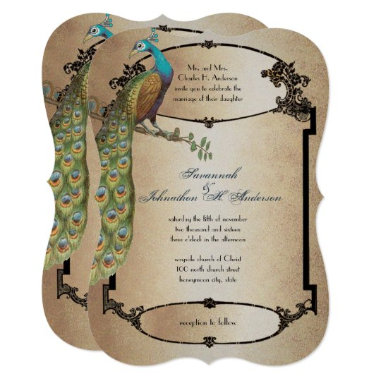 Gold Vintage Peacock Roaring 20s Deco Wedding Card