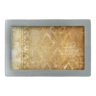gold,vintage,rustic,worn,damask,pattern,floral,chi rectangular belt buckle
