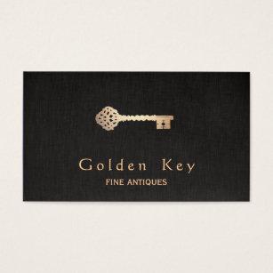 Antique business cards templates zazzle gold vintage skeleton key antique furniture dealer business card colourmoves