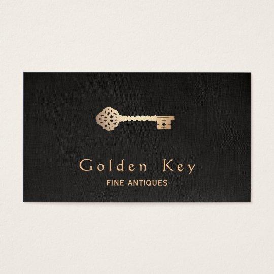 Gold Vintage Skeleton Key Antique Furniture Dealer Business Card - Gold Vintage Skeleton Key Antique Furniture Dealer Business Card