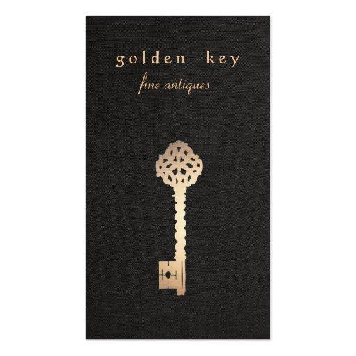 Gold Vintage Skeleton Key Antique Furniture Dealer Business Card Template