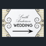 "Gold Vintage Stripes with Irongate Swirls Wedding Sign<br><div class=""desc"">This wedding direction yard sign features a vintage gold horizontal stripe pattern with black irongate swirls on each side.  The white background features customizable text for bride and groom names and an arrow indicating the route to the wedding.</div>"