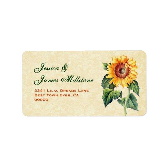 Gold Vintage Sunflower Label