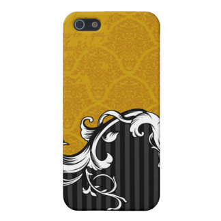 Gold Vintage Text Damask iPhone 4 Case