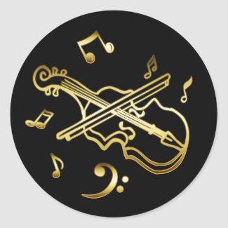 GOLD VIOLIN STICKERS