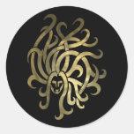 Gold Virgo Maiden Round Stickers