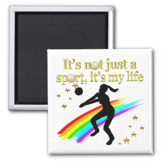 GOLD VOLLEYBALL IS MY LIFE DESIGN 2 INCH SQUARE MAGNET