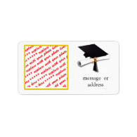 Gold w/Black & White Graduation Photo Frame Address Label