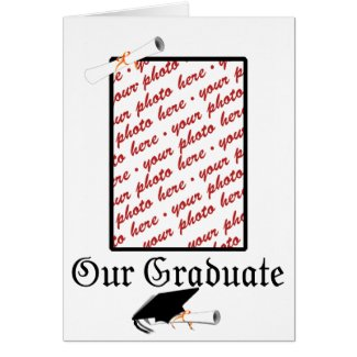 Gold w/Black & White Graduation Photo Frame Greeting Card
