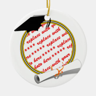 Gold w/Black & White Graduation Photo Frame Ceramic Ornament