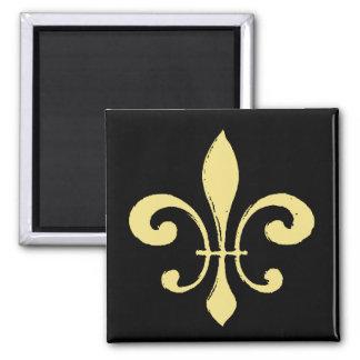 Gold Washout Fleur De Lis 2 Inch Square Magnet