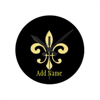 Gold Washout Fleur De Lis, add name Round Clock