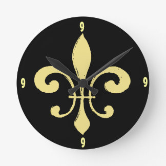 Gold Washout Fleur De Lis, add numbers Round Clock