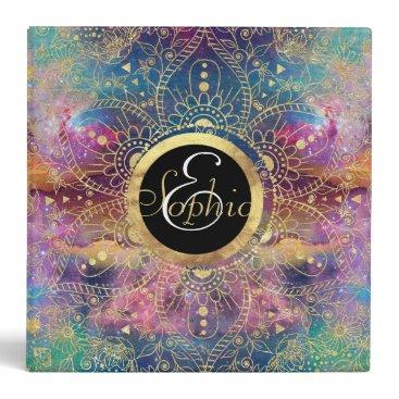 Gold watercolor and nebula mandala 3 ring binder