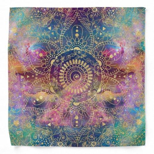 Gold watercolor and nebula mandala bandana