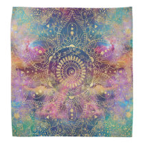 Gold watercolor and nebula mandala bandana
