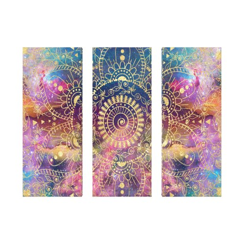 Gold watercolor and nebula mandala canvas print