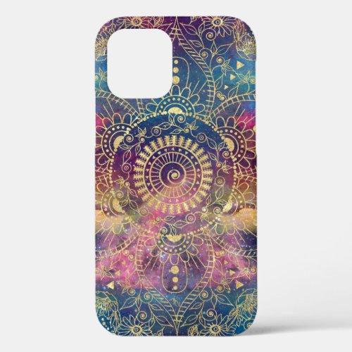 Gold watercolor and nebula mandala Phone Case