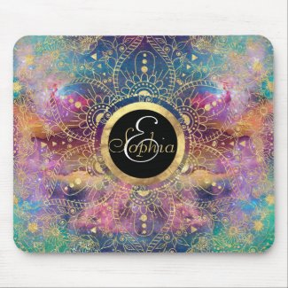 Gold watercolor and nebula mandala mouse pad