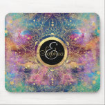 "Gold watercolor and nebula mandala mouse pad<br><div class=""desc"">Whimsical floral gold tribal mandala mehndi, henna Indian floral, design on a dreamy Orion nebula shining stars and watercolor blend image. Boho chic, dreamy feel artwork, geometric, circle of flowers, shapes, lines, stripes, triangles, dots, universe, constellation, space, astronomy, galaxy, nature, nerdy, cosmos, gold metallic texture effect design. Aztec, traditional with...</div>"