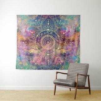 Gold watercolor and nebula mandala tapestry