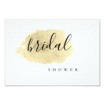Gold watercolor bridal shower invitations