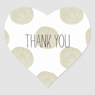 Gold Watercolor Dots Thank you Heart Sticker