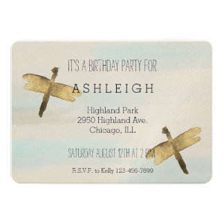 Gold Watercolor Dragonflies birthday Card