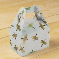 Gold Watercolor Dragonflies Favor Box