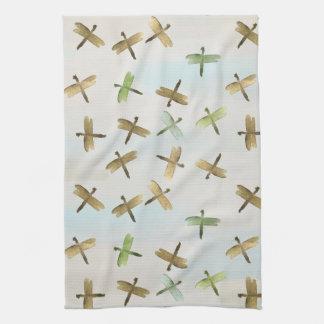 Gold Watercolor Dragonflies Towel