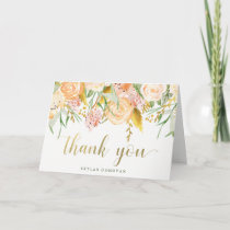 Gold Watercolor Floral on White | Thank You