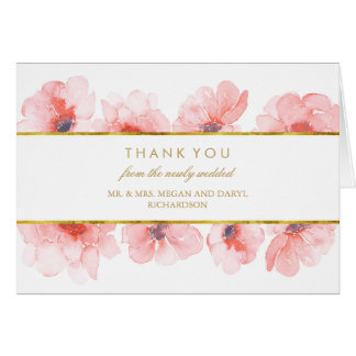Gold Watercolor Florals Wedding Thank You Card
