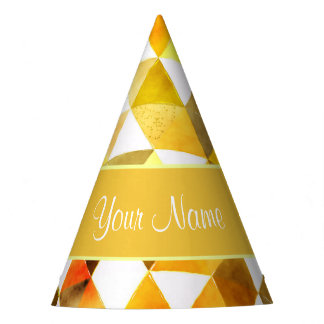 Gold Watercolor Geometric Triangles Party Hat