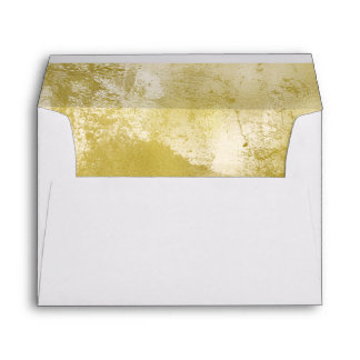 Gold Watercolor Lined Envelope