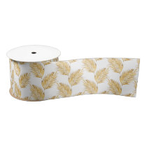 Gold Watercolor Palm Fronds Satin Ribbon