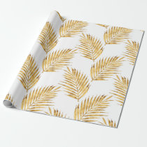 Gold Watercolor Palm Fronds Wrapping Paper