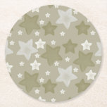 "Gold Watercolor Stars Round Paper Coaster<br><div class=""desc"">Gold Watercolor Stars</div>"