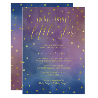 Gold & Watercolor Twinkle Little Star Baby Shower Card