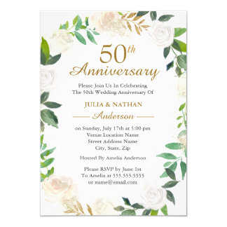 Gold Watercolor Wreath 50th Wedding Anniversary Invitation