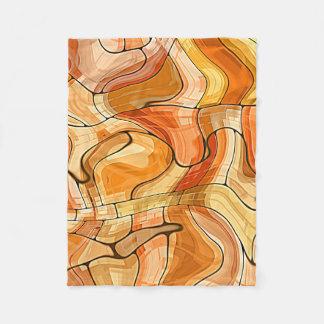 Gold Waves Abstract Pattern Fleece Blanket