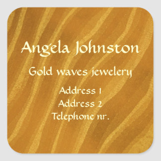 Gold waves square sticker