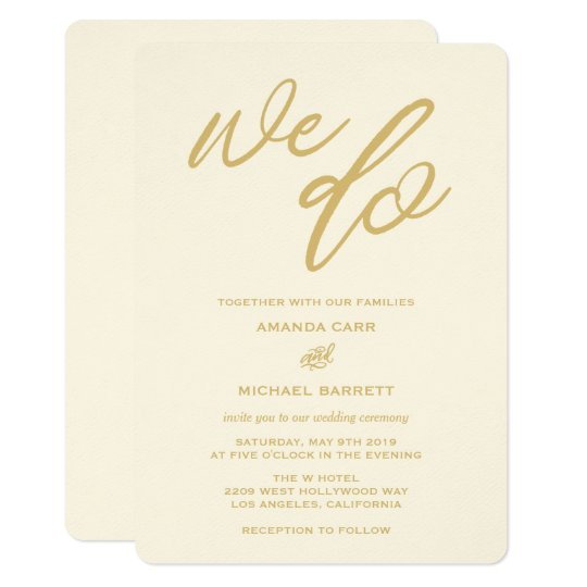 Do Your Own Wedding Invitations: Gold We Do Script Beach Wedding Invitation