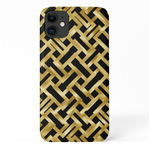 Gold weave geometric block pattern on black iPhone 11 case