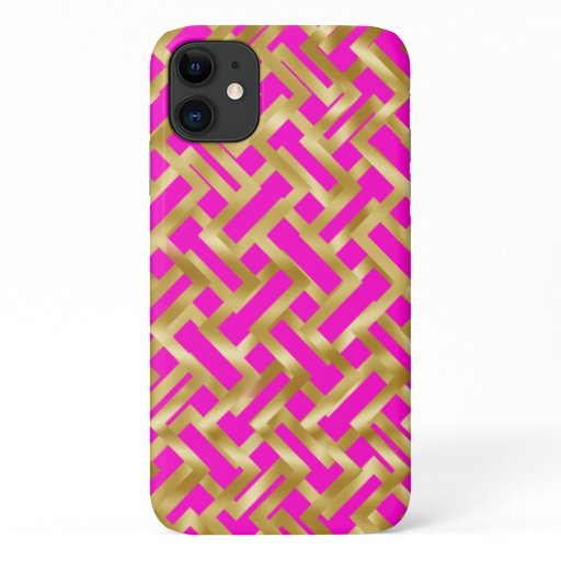 Gold weave geometric block pattern on pink iPhone 11 case