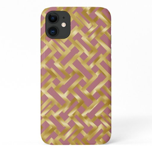 Gold weave geometric block pattern on rose pink iPhone 11 case