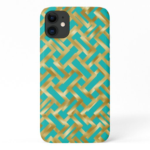 Gold weave geometric block pattern on Tiffany blue iPhone 11 Case